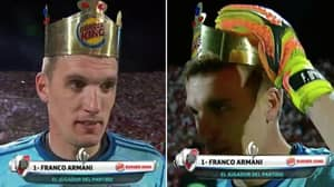 River Plate's Franco Armani Literally Crowned Man Of The Match By Sponsors Burger King