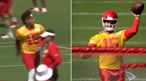 Patrick Mahomes Throws Behind-The-Back Pass And Left-Handed Dime In Training Camp