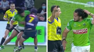 Canberra Raiders Star Issues Heartfelt Apology After Getting Sent Off For Horror Hit
