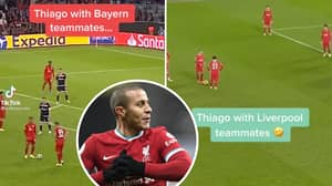 Footage Emerges Of Embarrassing Difference Between Thiago's 'No-Look Free-Kick' With Bayern Munich And Liverpool Players