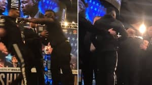 Jarrell Miller Pushes Anthony Joshua In Intense Face-Off At New York Press Conference