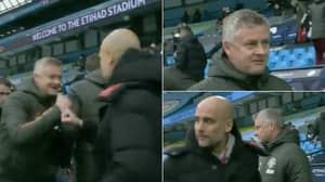Ole Gunnar Solskjaer's Facial Expression Immediately Change After Greeting Pep Guardiola