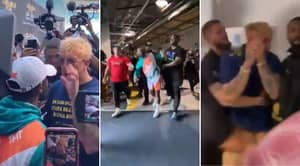 Floyd Mayweather Leaves Jake Paul With Black Eye And Bloody Mouth As Face-Off Erupts