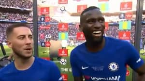Antonio Rudiger Begs Eden Hazard To Stay In Hilarious Interview After FA Cup Win