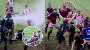 Massive Brawl Breaks Out Between Local Rivals In Brazil With Riot Police Using Pepper Spray
