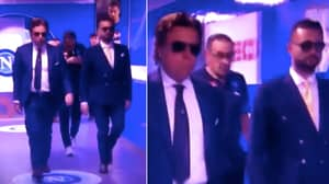 Maurizio Sarri Walks Down Tunnel With Cigarette In His Mouth Surrounded By Bodyguards