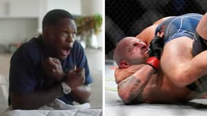 Israel Adesanya Completely Loses It While Watching Alexander Volkanovski Escape Brian Ortega's Submissions