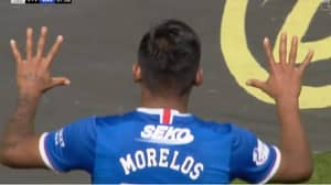 Alfredo Morelos Celebrates His Goal Against Celtic In Proper Sh*thouse Style