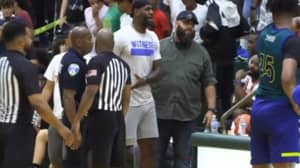 LeBron James Storms The Court During Son's High School Game To Confront Announcer