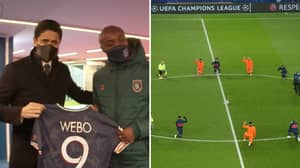 Paris Saint-Germain Give Istanbul Basaksehir Assistant Coach Pierre Webo A Shirt Signed By Whole Team