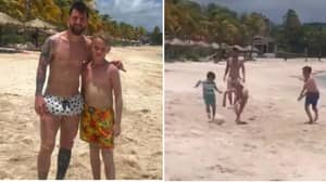 11-Year Old Kid From London Plays Football With Lionel Messi On Holiday