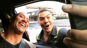 Dwayne 'The Rock' Johnson Stops Traffic To Take Selfie With Fan