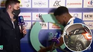 Grenoble Striker Mamadou Diallo Takes Home Man Of The Match Stand After Hilarious Presentation Gaffe