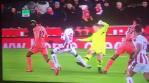 Simon Mignolet Somehow Avoids a Red Card in Stoke vs Liverpool Game