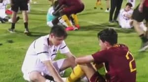 Roma's Under 15s Consoled The AC Milan Team After Beating Them To The Title