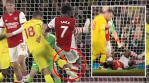 James McArthur Somehow Avoids Red Card After Volleying Bukayo Saka's Calf