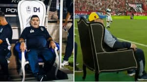 Diego Maradona Has Been Given His Own Pitchside Throne By Gimnasia