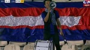 Cambodian Football Fan Spends Whole Game Cheering On His Team In 14-0 Defeat To Iran