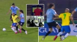 Manchester United Striker Edinson Cavani Sent Off For Uruguay After Shocking Challenge On Richarlison