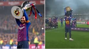Lionel Messi Fittingly Lifts The La Liga Trophy On His Own
