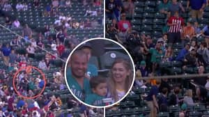 Seattle Mariners Fan Produced An Insane One-Handed Catch While Holding His Young Son