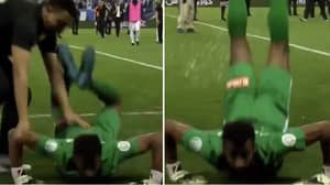 Ohod Goalkeeper Celebrates Clean Sheet Against Al Hilal By Doing The Worm In Front Of Opposition Fans