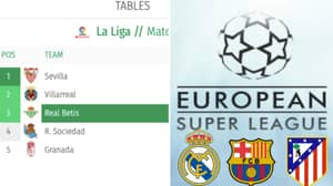 Real Betis Have Removed Barcelona, Real Madrid And Atletico Madrid From La Liga Table On Their Website