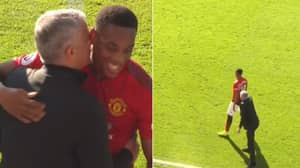 Jose Mourinho Walks On The Pitch To Congratulate Anthony Martial For Closing Down
