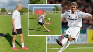 Romeo Beckham Looks Spitting Image Of His Dad As He Replicates Trademark Free-Kick