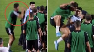 Cristiano Ronaldo Jumps On Policeman After Fan Attempts To Invade Training Session