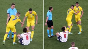 Andriy Yarmolenko Refuses To Let Ukrainian Teammate Help Harry Maguire Up