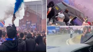 Insane Footage Emerges From Inside Steven Gerrard's Car As Thousands Of Rangers Fans Gather Outside Ibrox