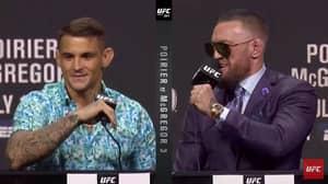 Trash-Talking Conor McGregor Kicks Dustin Poirier During Fiery UFC 264 Press Conference