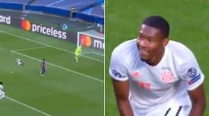 David Alaba Caught Laughing At Own Goal In Bayern Munich-Barcelona Game