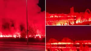 Insane Footage Of Rangers Fans Lighting Up The River Clyde With Flares Will Give You Goosebumps