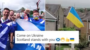 Scotland Fans Have Decided To Support Ukraine Tonight And Even Have Flags Up Around The Country