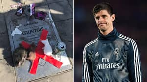 Thibaut Courtois' Commemorative Plaque Vandalised Outside Of Atlético Madrid's Stadium, He Responds