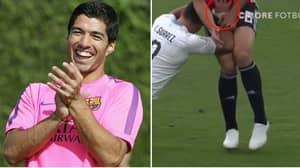 Luis Suarez Grabs Opponent's Balls In The Most Luis Suarez Moment Ever