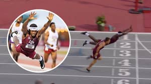US Athlete Does Incredible 'Superman Dive' To Win Gold In 400m Hurdles