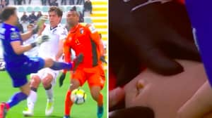 Goalkeeper Gets Red Card For Challenge Which Took A Chunk Out Of Striker's Leg