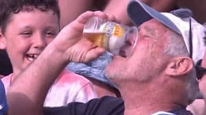 Aussie Cricket Fan Catches Ball In His Beer Cup And Necks It To Celebrate