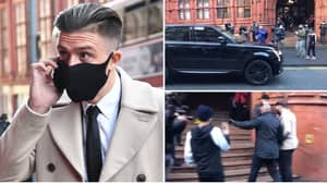 Jack Grealish Dummies His Way Past Reporters With A 'Car Distraction' As He Arrives At Court On Foot