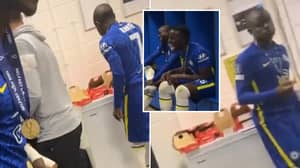 N'Golo Kante Eating Pizza While His Chelsea Teammates Dance Is A Mood