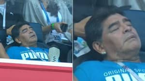 Diego Maradona Caught Sleeping In The Stands During Argentina vs Nigeria