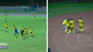 Referee Makes Decision, Gets Chased By Mob Of Players And Beaten After Defending Himself With Corner Flag