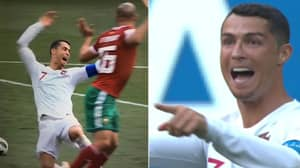 Cristiano Ronaldo Signals For VAR Check After Dive Against Morocco