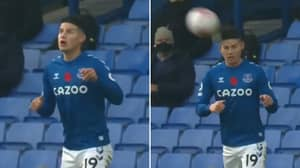 James Rodriguez Produces Ridiculous 'No-Look Header' During Everton Vs Manchester United