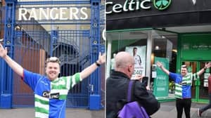 Fan Causes Absolute Outrage After Wearing A Celtic-Rangers Mash-Up Shirt