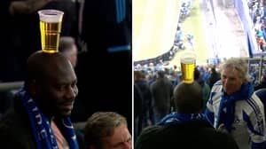 Schalke Fan Spotted Balancing Pint On His Head During Man City Game