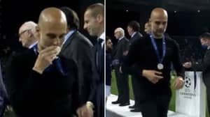 Pep Guardiola Ruthlessly Mocked For Kissing Champions League Runners-Up Medal